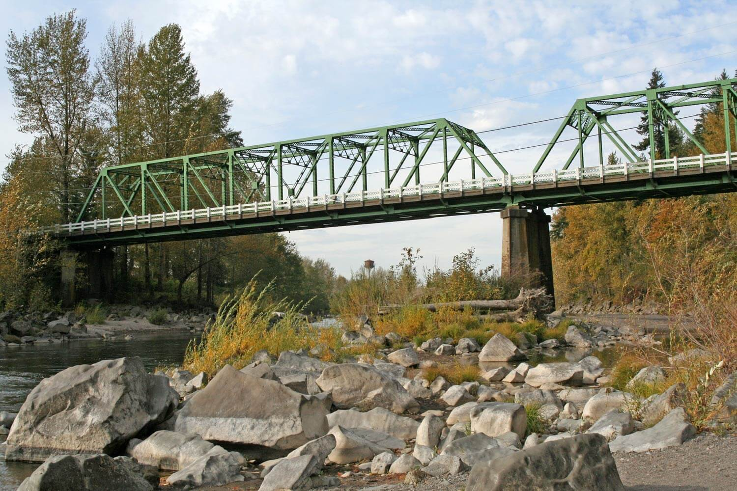 Bridge over river near Mount Hood Image